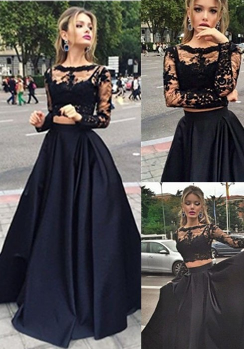 94f0694c4c Jewel Long Sleeves Lace Prom Dresses 2 Pieces Crop Top Graduation Dresses  Long Black Two Pieces Evening Dress Kadisua 0470-in Evening Dresses from  Weddings ...