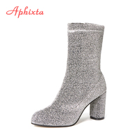 Aphixta Autumn Winter Women Boots Sequined Cloth Mid Calf Silver Black Stretch Fabric Socks Square Heel