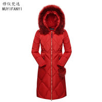 2017 Winter Jackets Women Elegant Large Fur Collar Hooded Thick Warm Cotton Slim Long Jacket Winter