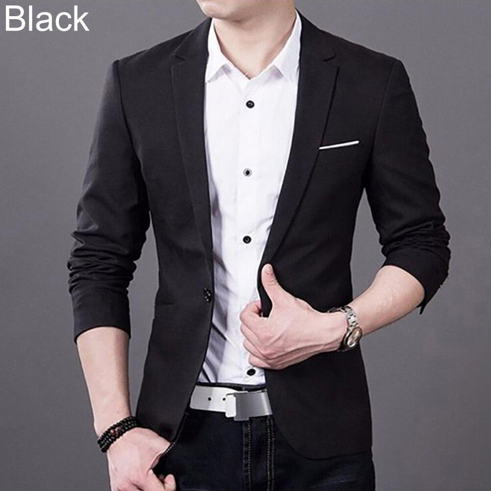 ファッション男性スリムフィットワンボタンスーツビジネスブレザーコートジャケットトップス