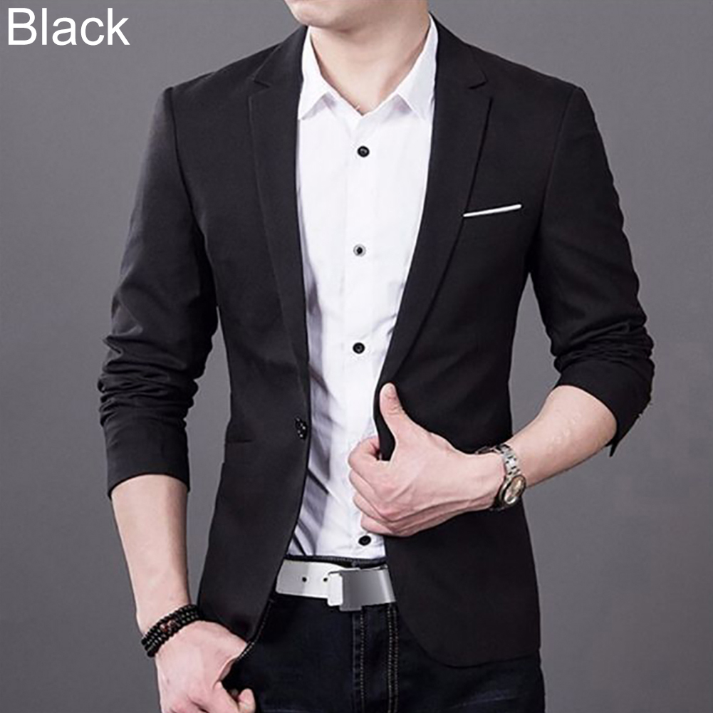 Fashion Men Slim Fit Formal One Button Suit Business Blazer Coat Jacket Tops
