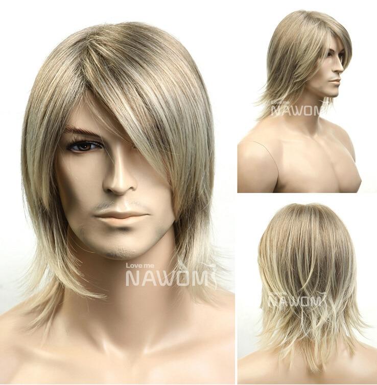 Neue Mode Mittel Lange Haare Perucke Manner Perucken Synthetische