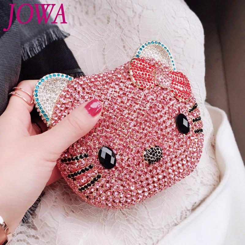 2018 New Design Women Fashion Handbag Shiny Pink Diamonds Cute Kitty Cat Mini Evening Bag Wedding Party Bride Clutch Night Purse free shipping new tassel rhinestone evening bag clutch bag super cute mini sachet 7247 02