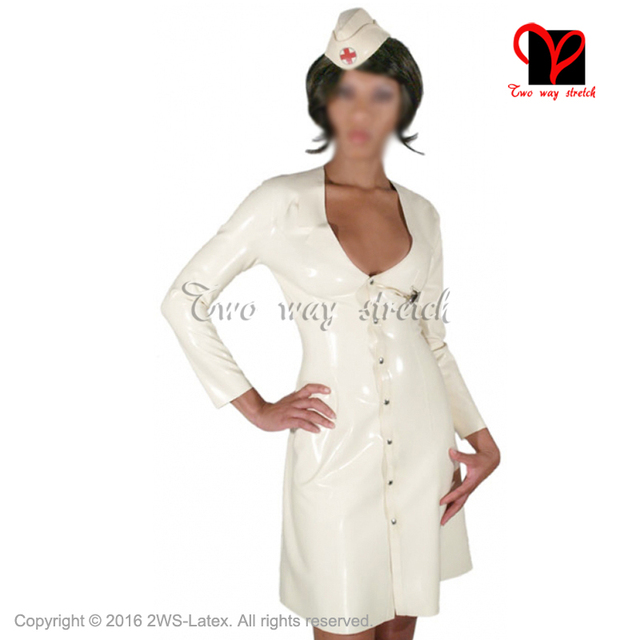 Sexy Latex Nurse Dress With Hat Headgear Rubber Doctor Uniform Long Sleeves Playsuit Medical Bodycon Button