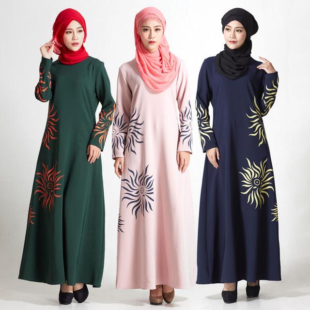 Moda Vestido de Musulmán Abaya En Dubai Jilbab Ropa Islámica Para Las Mujeres Abaya Musulmán Tradicional Chilaba Rose Floral Print Vestido