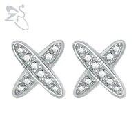 2Pcs X Letter Shape Cubic Zirconia Crystal Ear Stud Earring Body Jewelry For Female Women 925