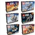 6 Unids/lote Tema de Star Wars STAR WARS Building Blocks Ladrillos Compatible con Lepin Microfighters Modelos y Juguetes de Construcción