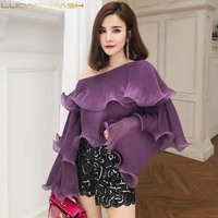 Luoanyfash off Shoulder Ruffles Shirts Long Sleeve Sexy Purple Tops For Women Holidays High Quality Sexy Blouse 2018 New Sum