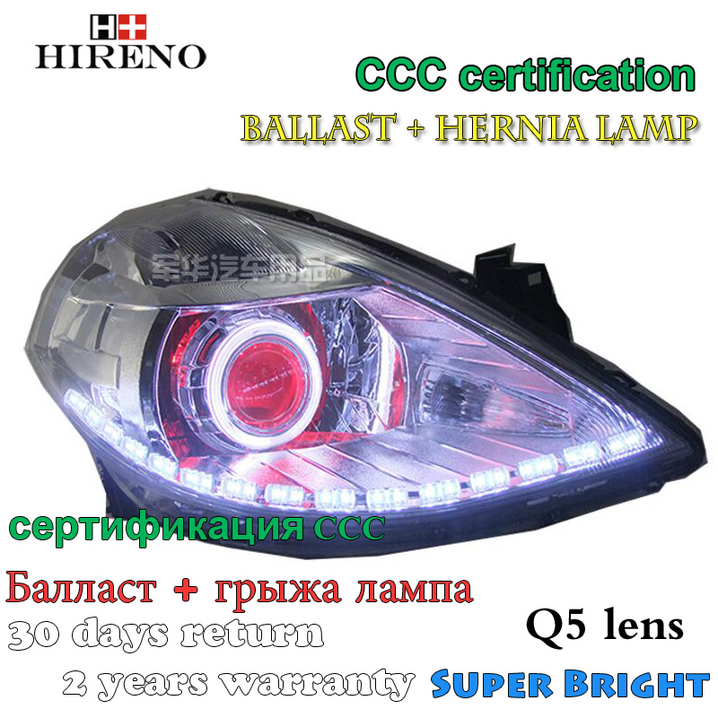 Hireno Modified Headlamp for Nissan Tiida 2008-11 Headlight Assembly Car styling Angel Lens Beam HID Xenon 2 pcs hireno headlamp for cadillac xt5 2016 2018 headlight headlight assembly led drl angel lens double beam hid xenon 2pcs