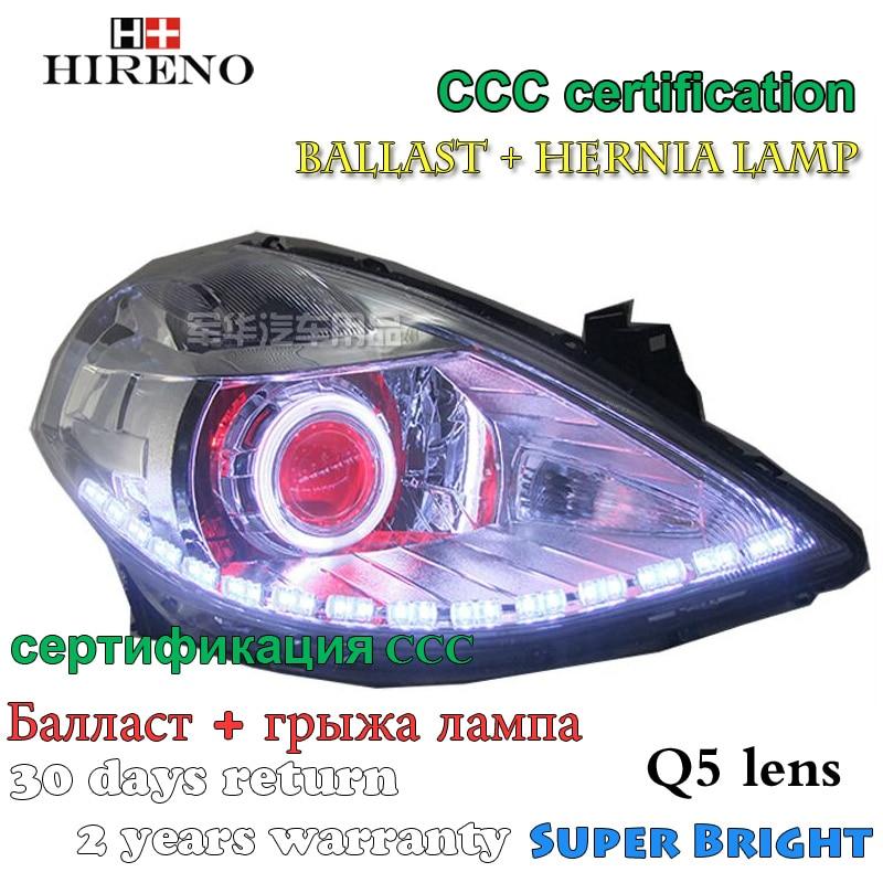 Hireno Modified Headlamp for Nissan Tiida 2008-11 Headlight Assembly Car styling Angel Lens Beam HID Xenon 2 pcs