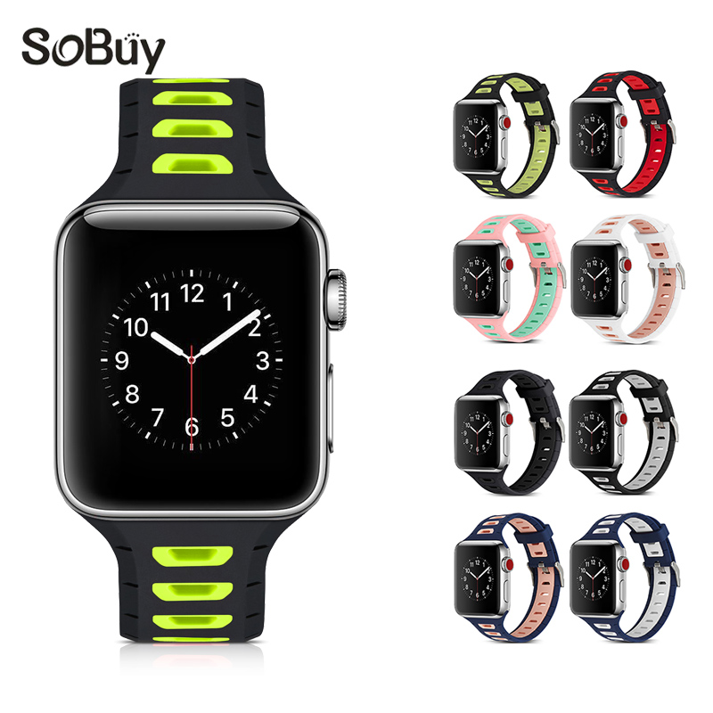 So buy for Apple Watch 1/2/3 Series 38mm rubber band 42mm Sports Strap Silicone Wrist Br ...