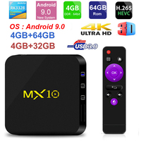 MX10 Android TV BOX Android 9.0 RK3328 Quad Core 4G RAM 64G ROM 3D 4K HDR10 H.265 USB 3.0 Media Player IP TV Set top BOX OS 8.1