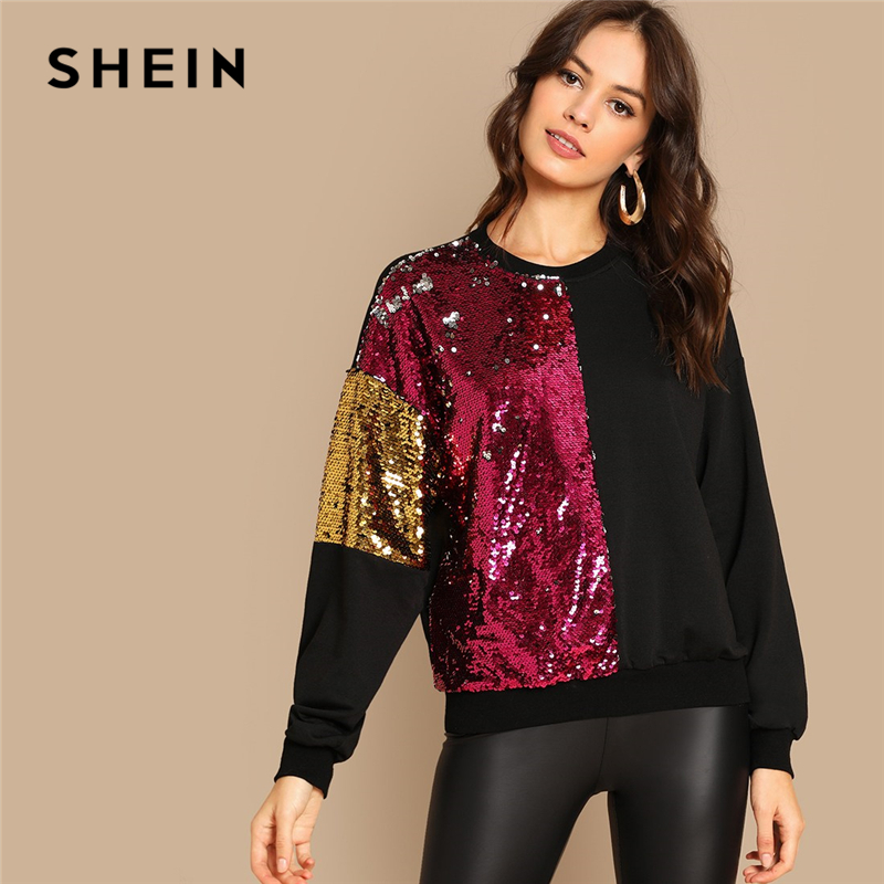 a78326a49e5 SHEIN Multicolor Highstreet Sequin Contrast Color Block Round Neck Pullover Sweatshirt  Autumn Casual Fashion Women Sweatshirts