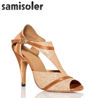 Samisoler Skin New F Cloth Collocation Shine Ribbons Ballroom Fashion Dance Women Latin Dance Competition Shoes