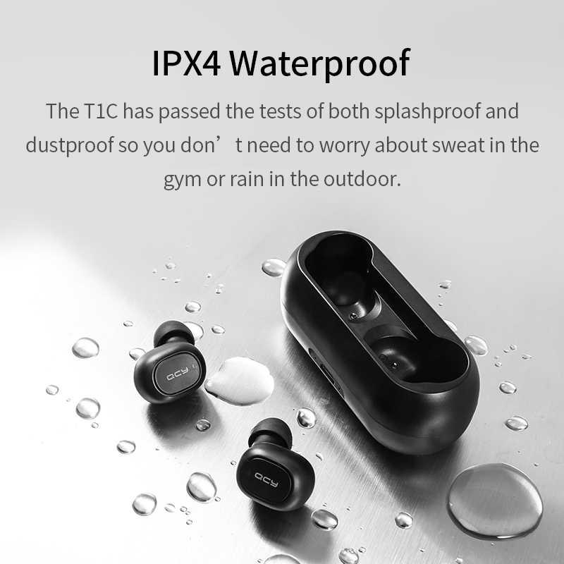 QCY QS1 T1C TWS zestaw słuchawkowy Bluetooth V5.0 sportowe słuchawki bezprzewodowe słuchawki stereo 3D Mini w uchu podwójny mikrofon z etui z funkcją ładowania
