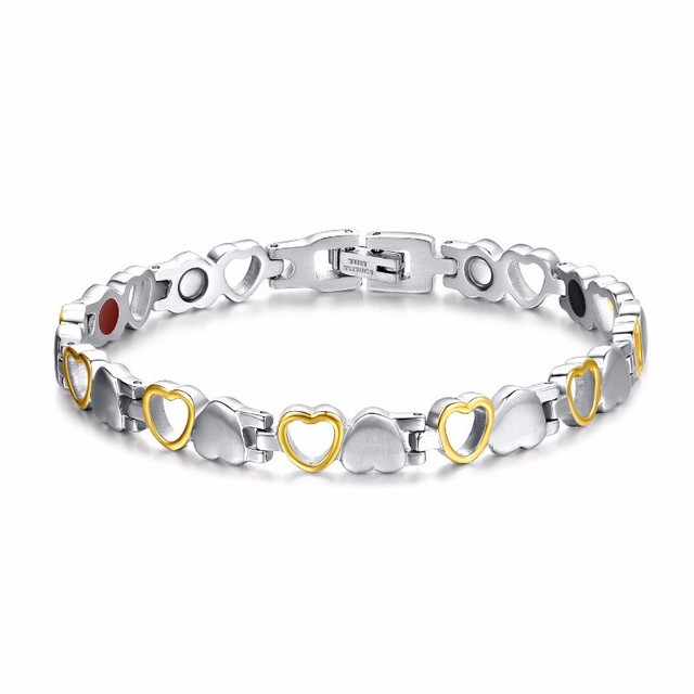 Rainso Fashion Healthy Energy Bracelet Hearted design Stainless Steel Health Care Magnetic Gold Bracelet Hand Chain For Women 1