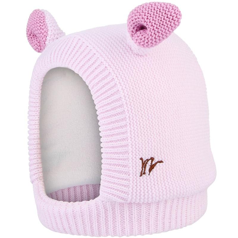 Cute Cartoon Ear Winter Hat For Baby Kids Knitted Earflaps Caps Boys Girls Children Skullies Beanies Winter Neck Warmer Caps