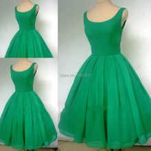 Real sample a 1950er jahren stil smaragdgrün boot-ausschnitt kurzen cocktailkleid ballkleid kurze