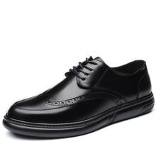 Oxfords chaussures en cuir pour hommes, chaussures de mariage formelles, rétro Brogue Business bureau, plates