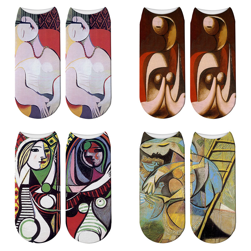 Fashion 3D Printed Picasso Oil Painting Socks Women's Funny Abstract Painting Ankle Socks Picasso The Dream Novelty Socks