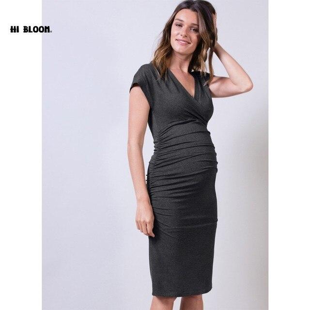 631da266216e4 Happy Maternity One-piece Dresses Knee-Length Spring Maternity Clothing  Pregnancy Clothes V-