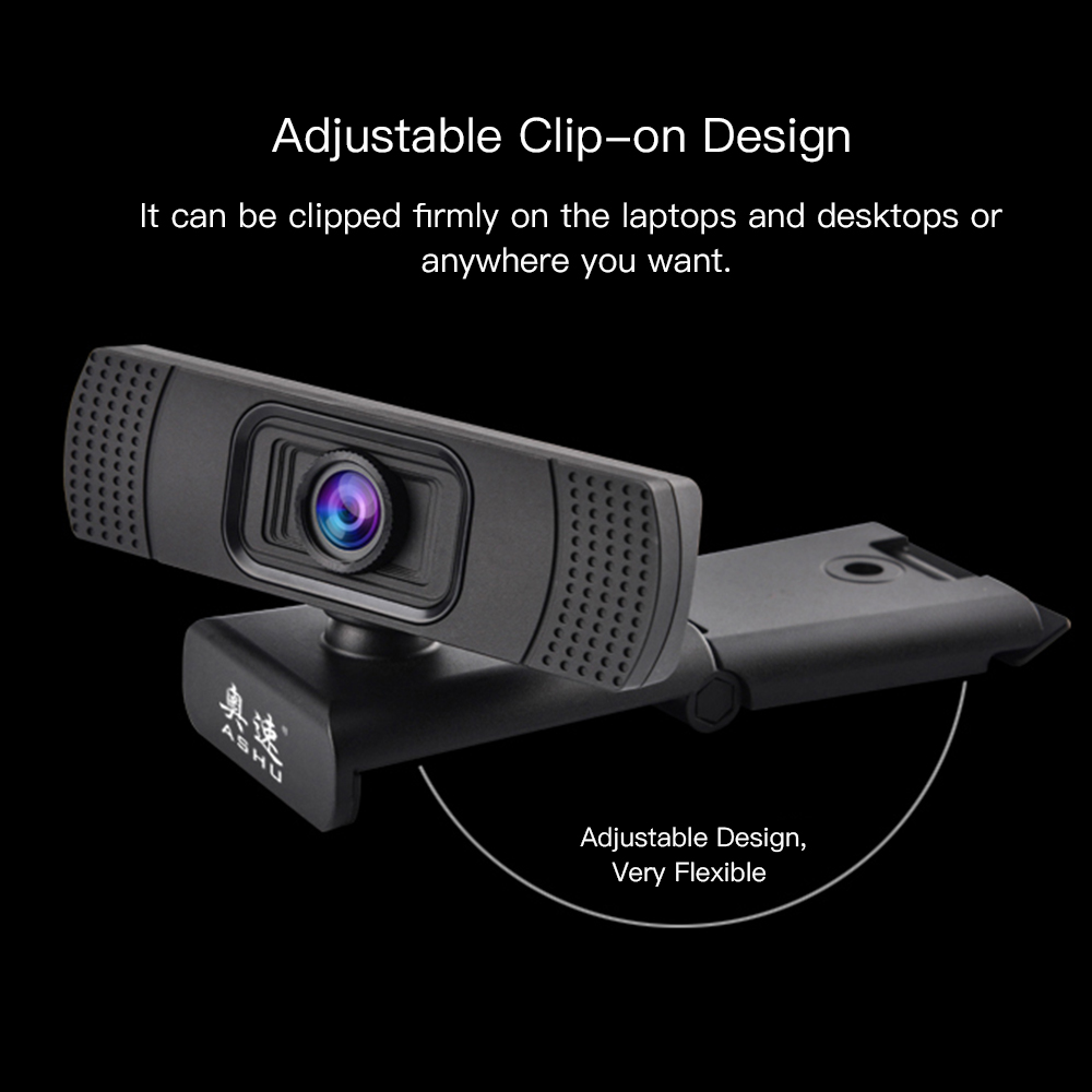 USB 2.0 Web Digital Camera Webcam Full HD 1080P Webcams with Microphone Clip-on 2.0 Megapixel CMOS Camera Web Cam for Computer 2
