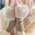 Winter Cute warm smart point female gloves Plush Fingerless cartoon gloves Knitted Wrist Gloves Women faux fox Fur Warm gloves