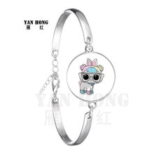 2019 Hot-selling A doll Glass Leather Bracelet 18mm Glass Dome Cartoon Jewelry Round Glass Bracelet Children's Charm Gift(China)