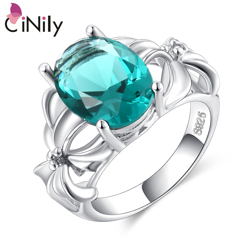 Cinily Jewelry Green-Stone Ring-Size Wedding-Engagement Silver-Plated Fashion Women