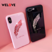 Luxury Smooth Feather Mirror pink soft Case For iPhone X 8 7 6 6S Plus Phone Cover For Huawei P20 pro Honor 9/10 lite Back Funda цена