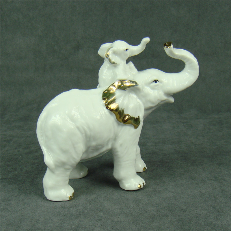 Creative Porcelain Elephant Statue Decorative Ceramics Fatheru0027s Love  Sculpture Mascot Animal Gift And Craft Ornament Accessories In Figurines U0026  Miniatures ...