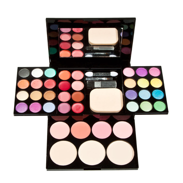 Makeup Set Face Contour Eyeshadow Lip Gloss Foundation Powder Blusher Palette with Puff for Women Beauty Cosemtic Kits Tool