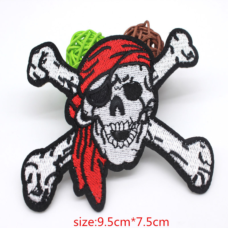 Embroidered red hood skull Patches iron on Clothing punk patch Motif sticker embroidery middle finger Badges DIY Accessories