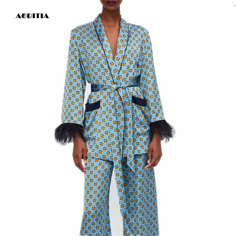 2019 Women Print Fur Sleeve Blazer Two Piece Set Women Coat Set Long-sleeve Tops Trousers Sets