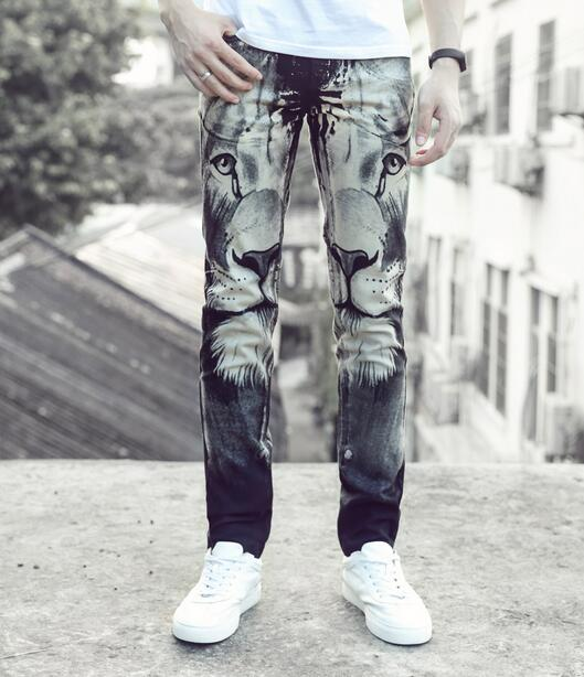 Street black printing lions feet pants man fashion true jeans men famous brand mens pants skinny