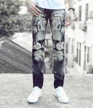 Улица черно-белой печати львы ноги брюки человек мода правда джинсы мужчины известный бренд мужские брюки узкие джинсы мужчины прямые брюки