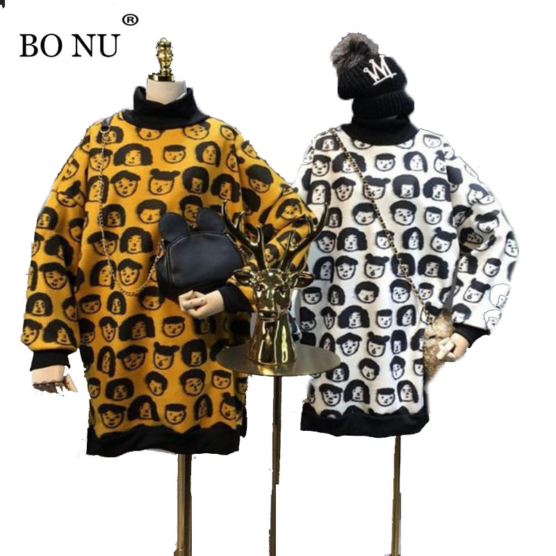 BONU Spring Cartoon graffiti Sweater Dress Long Sleeve Printed Loosen Dresses of the big sizes winter round neck Dresses