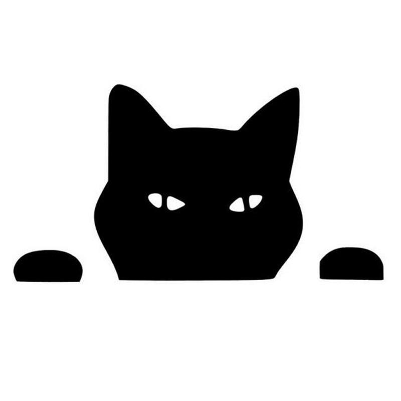 14*7,5 см кошка Подглядывает, забавный кот, наклейки и наклейки для автомобиля, Стайлинг мотоцикла, черный/серебристый, для автомобиля, с рисунком, для автомобиля car sticker car stickers and decalsfun car stickers   АлиЭкспресс