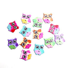 50Pcs 16mm Mixed Wooden Owl Sewing Buttons For Clothing Flatback Cabochon Scrapbooking Crafts Bouton Decoration Diy Accessories