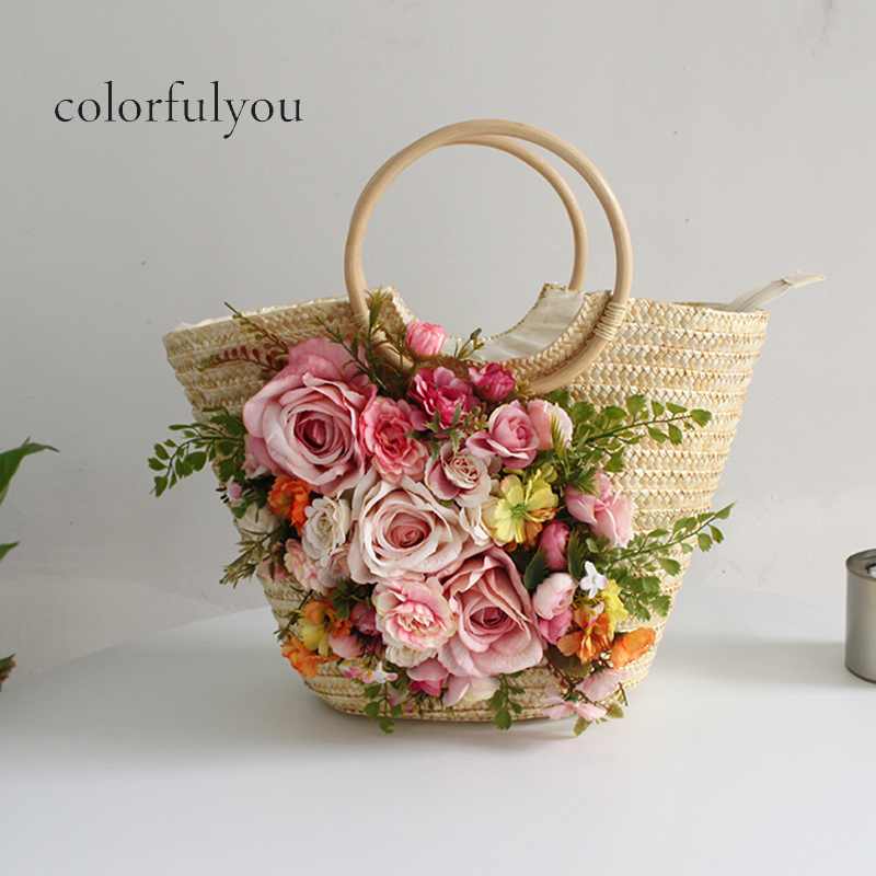2019 Straw Bag For Women Handmade Woven Flowers Beach Tote Bag With Wooden Handle New Fashion