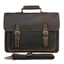 JMD Crazy Horse Leather Mens Brown Shoulder Messenger Bag Cross Body Handbags 7205R