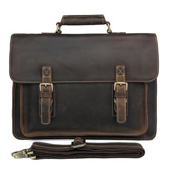 JMD Crazy Horse Leather Men's Shoulder Messenger Bag Cross Body Handbags