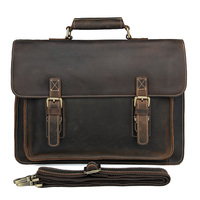 JMD Crazy Horse Leather Men's Shoulder Messenger Bag Cross Body Handbags