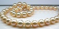 Jewelry 00120890 PERFECT ROUND 1810 11MM SOUTH SEA GENUINE GOLDEN PINKISH PEARL NECKLACE 14KGP