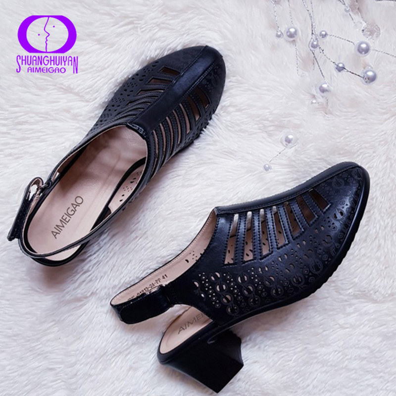 AIMEIGAO 2019 New Women Gladiator Sandals Summer Shoes Black Color Comfortable Heels Women Shoes Hollow out ShoesHigh Heels   -