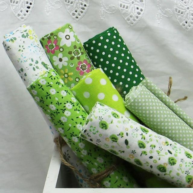 Горячая! 7 шт./лот, 100% хлопок обычный зеленый печатной стеганой ткани , установленных на, Текстильная лоскутное, Ткань для шитья, Ткани, Ткань, Tilda-50x50cm