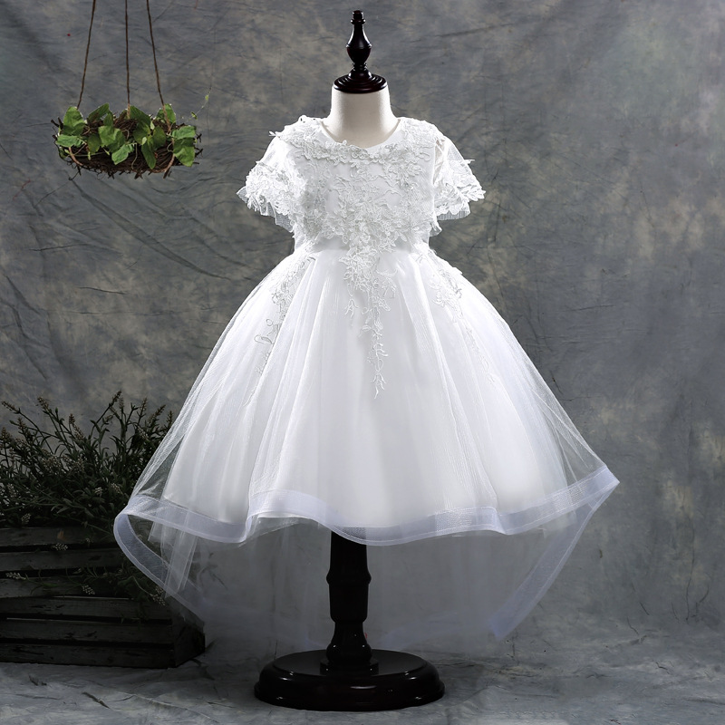 U-SWEAR 2019 New Arrival Kid   Flower     Girl     Dresses   Short Sleeve O-neck Flora Lace Sequined Beaded Mesh Chiffon Ball Gown Vestidos