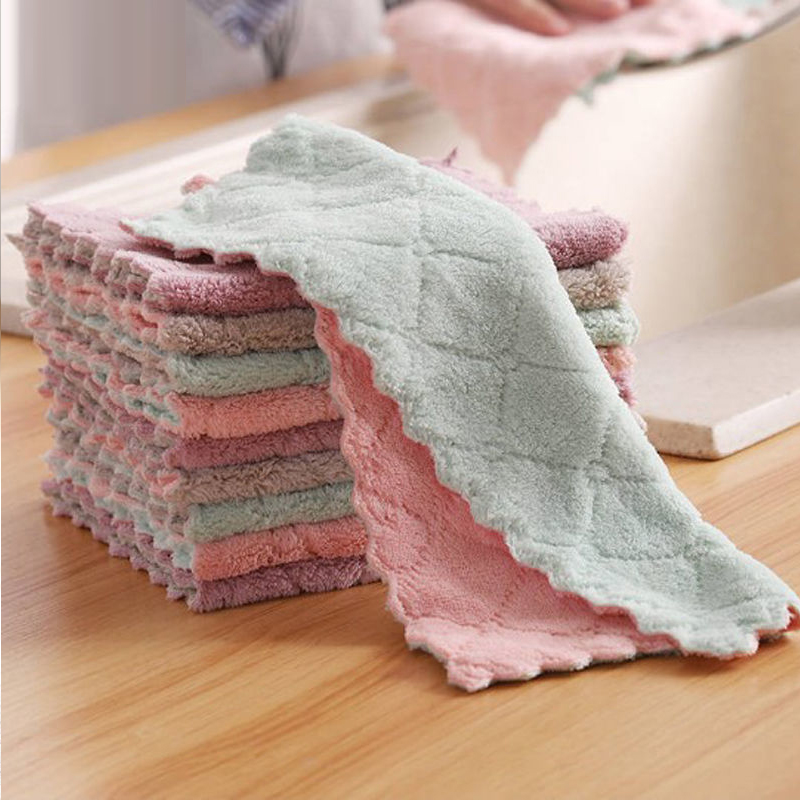Household Kitchen Towels Absorbent Thicker Double-layer Microfiber Wipe Table Kitchen Towel Cleaning Dish Washing Cloth(China)