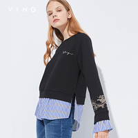 VING 2017 Autumn New Arrival Women Hoodies Stripe Embroidery Letter False Tow Piece O Neck Full