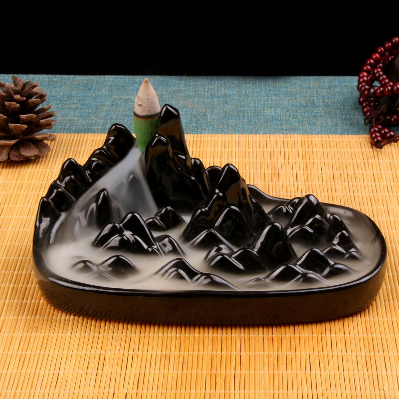 Mountain River Handicraft Incense Holder Backflow Incense Burner Ceramic Aromatherapy for Waterfall of Smoke House Air Aromatic in Incense Incense Burners from Home Garden
